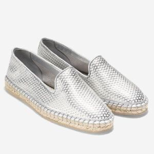 COLE HAAN Silver Rielle Perforated Espadrilles 7.5